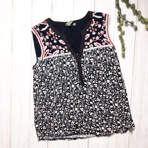 Anthro One September Fringed Floral Tank Top - M